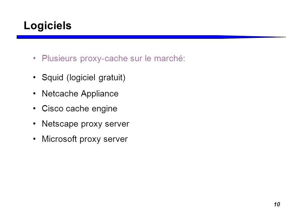 10 Logiciels Plusieurs proxy-cache sur le marché: Squid (logiciel gratuit) Netcache Appliance Cisco cache engine Netscape proxy server Microsoft proxy