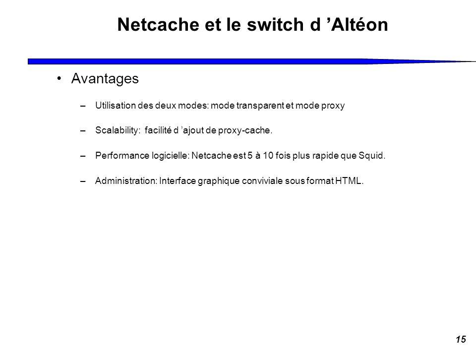 15 Netcache et le switch d Altéon Avantages –Utilisation des deux modes: mode transparent et mode proxy –Scalability: facilité d ajout de proxy-cache.