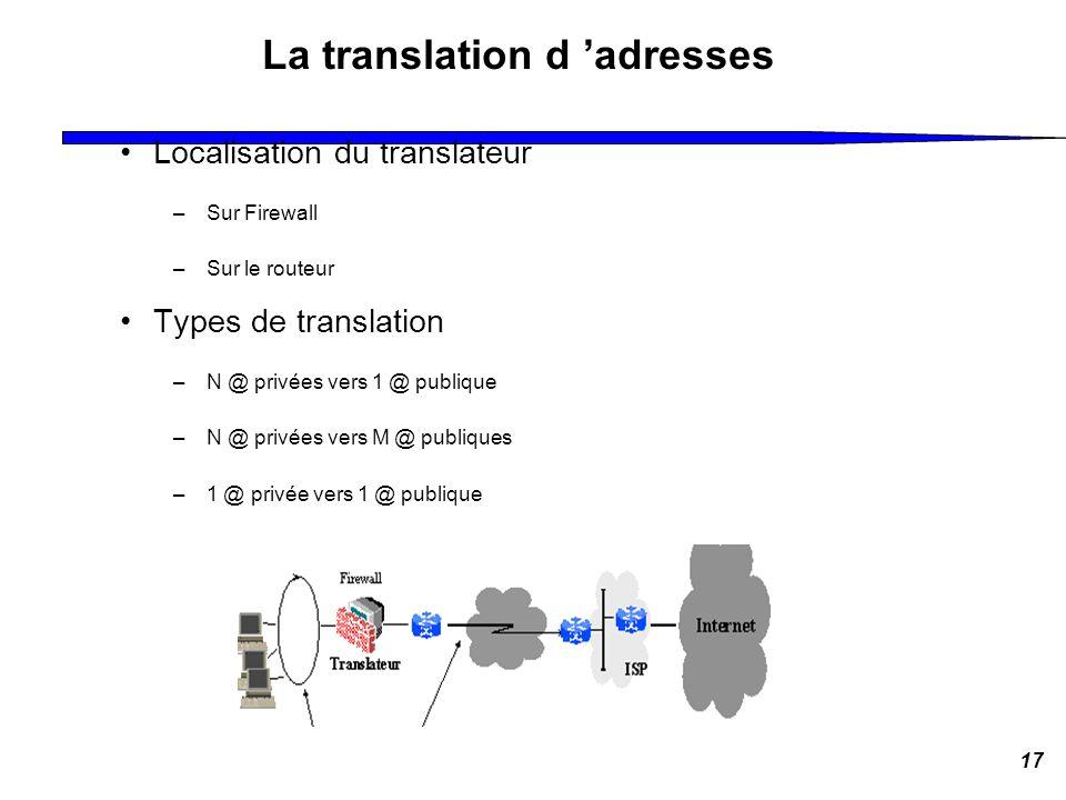 17 La translation d adresses Localisation du translateur –Sur Firewall –Sur le routeur Types de translation –N @ privées vers 1 @ publique –N @ privée
