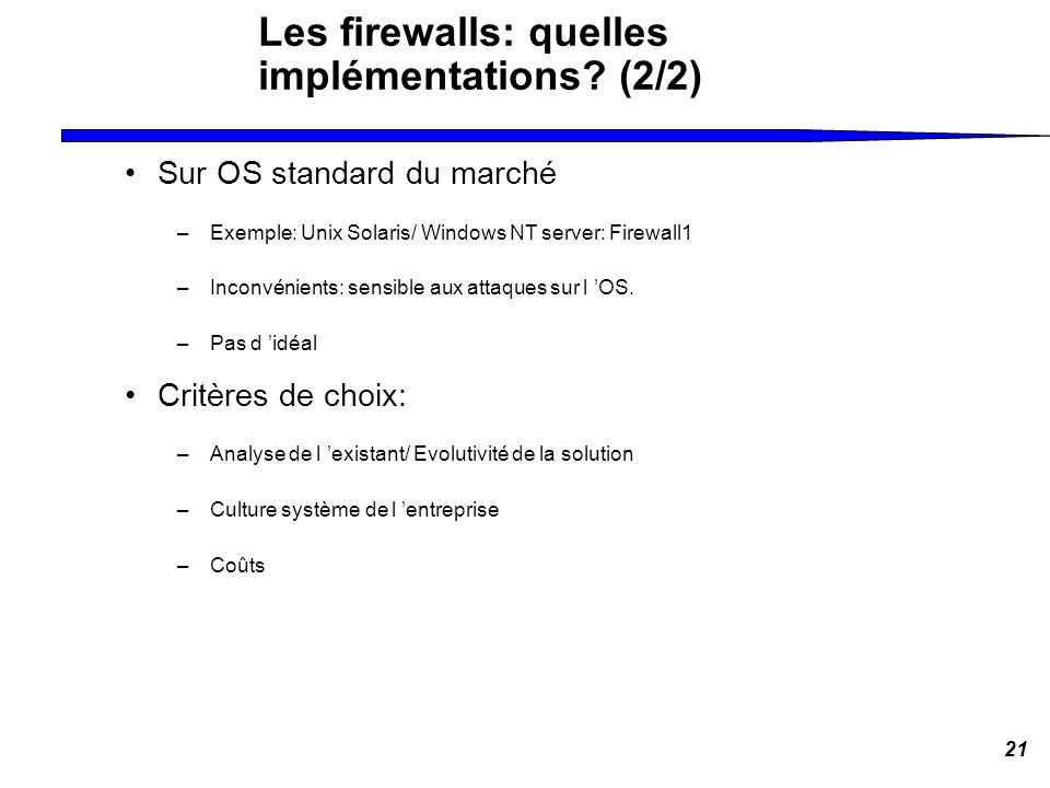 21 Les firewalls: quelles implémentations? (2/2) Sur OS standard du marché –Exemple: Unix Solaris/ Windows NT server: Firewall1 –Inconvénients: sensib