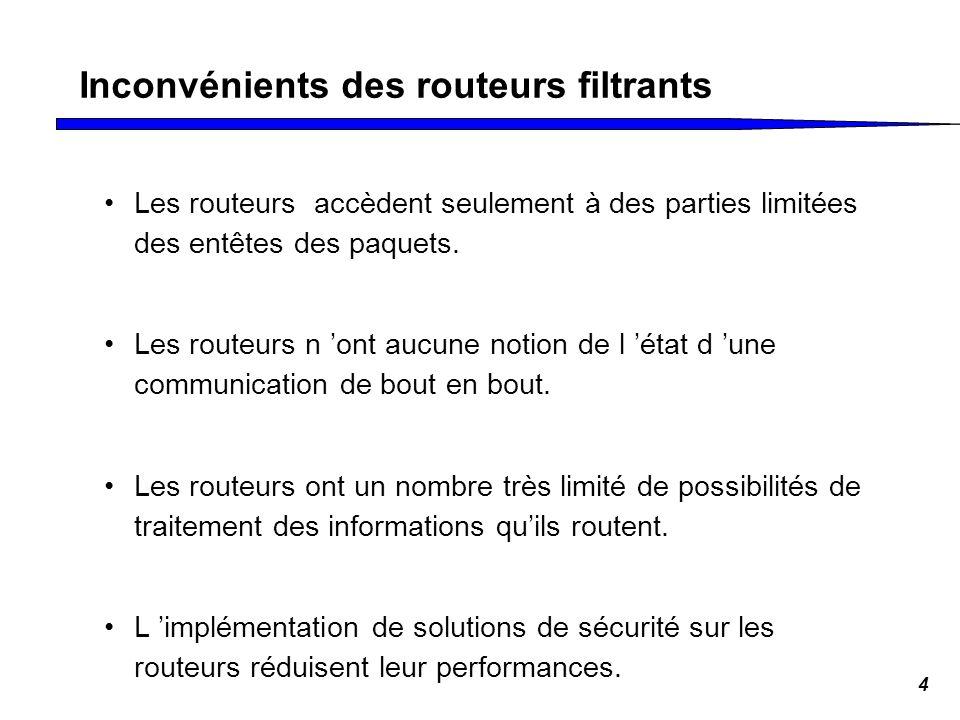 4 Inconvénients des routeurs filtrants Les routeurs accèdent seulement à des parties limitées des entêtes des paquets. Les routeurs n ont aucune notio