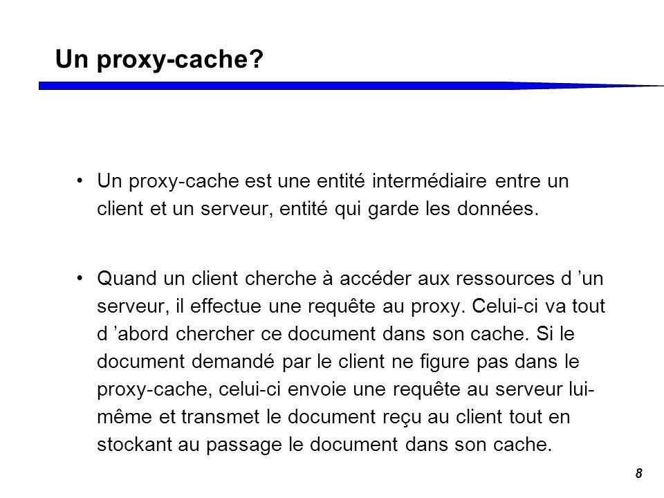 8 Un proxy-cache? Un proxy-cache est une entité intermédiaire entre un client et un serveur, entité qui garde les données. Quand un client cherche à a