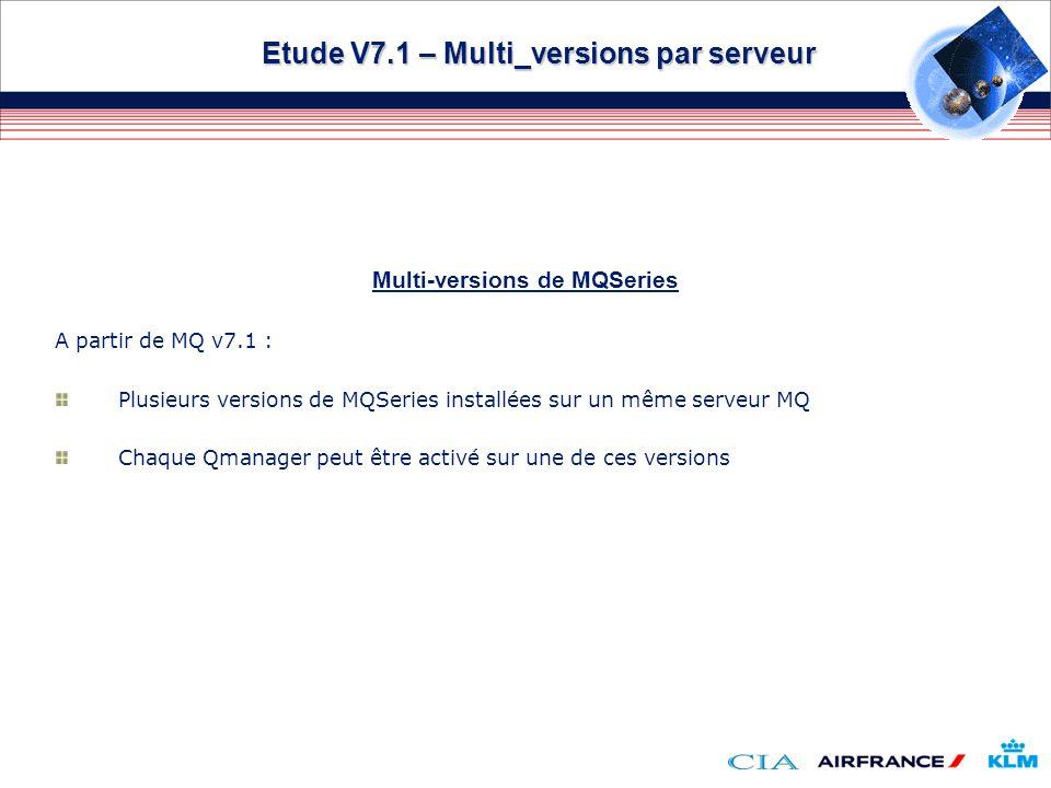 Etude V7.1 – Multi_versions par serveur Multi-versions de MQSeries A partir de MQ v7.1 : Plusieurs versions de MQSeries installées sur un même serveur