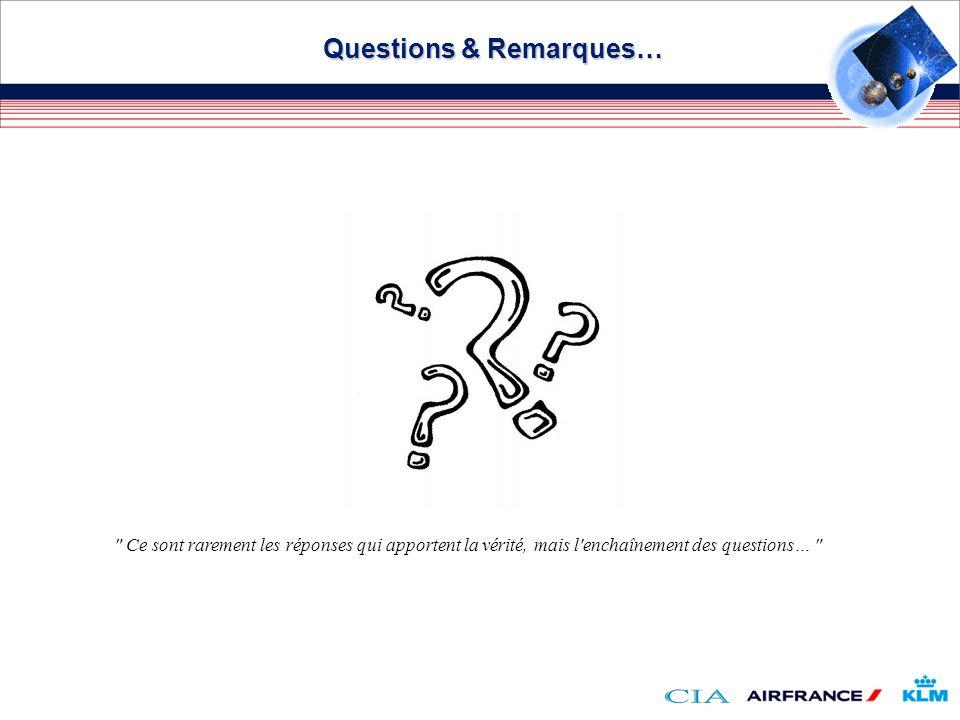 Questions & Remarques… Ce sont rarement les réponses qui apportent la vérité, mais l enchaînement des questions…