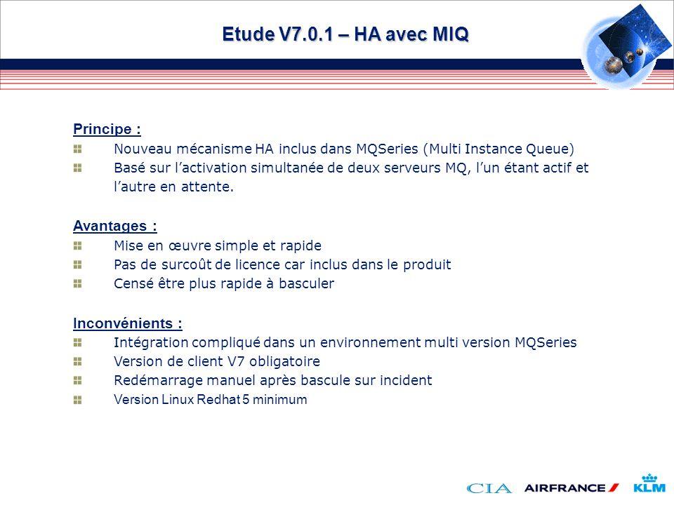 Etude V7.0.1 – HA avec MIQ Principe : Nouveau mécanisme HA inclus dans MQSeries (Multi Instance Queue) Basé sur lactivation simultanée de deux serveur