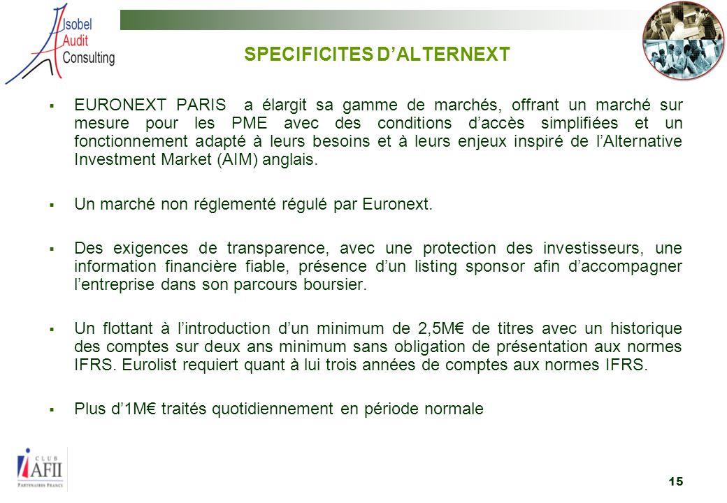 15 EURONEXT PARIS a élargit sa gamme de marchés, offrant un marché sur mesure pour les PME avec des conditions daccès simplifiées et un fonctionnement adapté à leurs besoins et à leurs enjeux inspiré de lAlternative Investment Market (AIM) anglais.