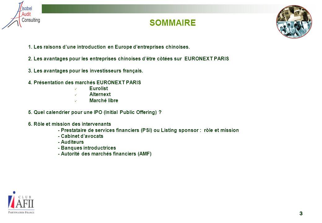 3 SOMMAIRE 1.Les raisons dune introduction en Europe dentreprises chinoises.