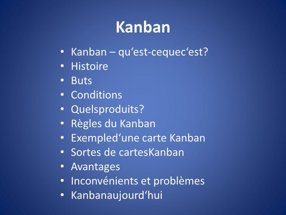 Kanban Kanban – quest-cequecest? Histoire Buts Conditions Quelsproduits? Règles du Kanban Exempledune carte Kanban Sortes de cartesKanban Avantages In