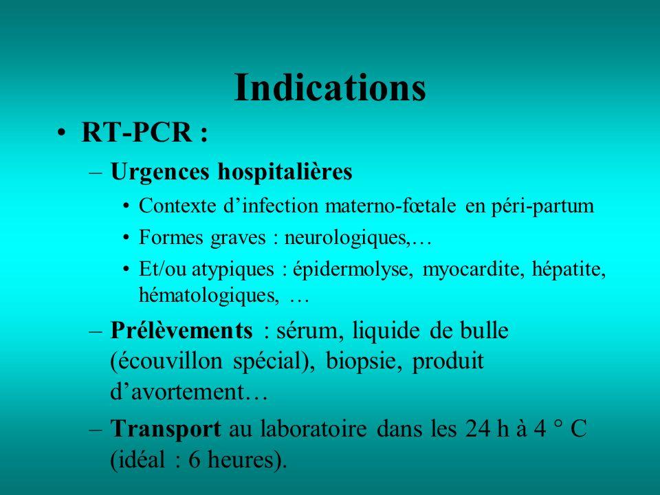 Indications RT-PCR : –Urgences hospitalières Contexte dinfection materno-fœtale en péri-partum Formes graves : neurologiques,… Et/ou atypiques : épide