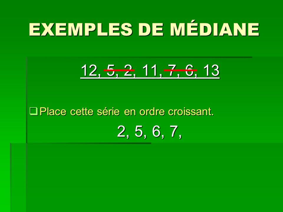 EXEMPLES DE MÉDIANE 12, 5, 2, 11, 7, 6, 13 Place cette série en ordre croissant. Place cette série en ordre croissant. 2, 5, 6, 7,