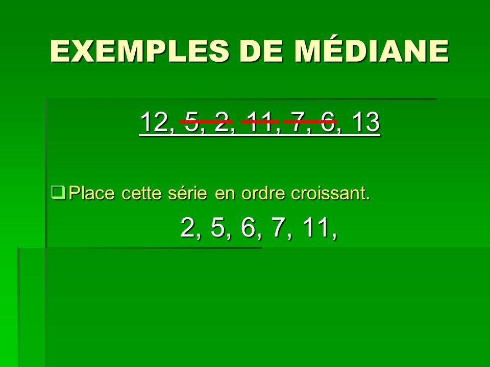 EXEMPLES DE MÉDIANE 12, 5, 2, 11, 7, 6, 13 Place cette série en ordre croissant. Place cette série en ordre croissant. 2, 5, 6, 7, 11,
