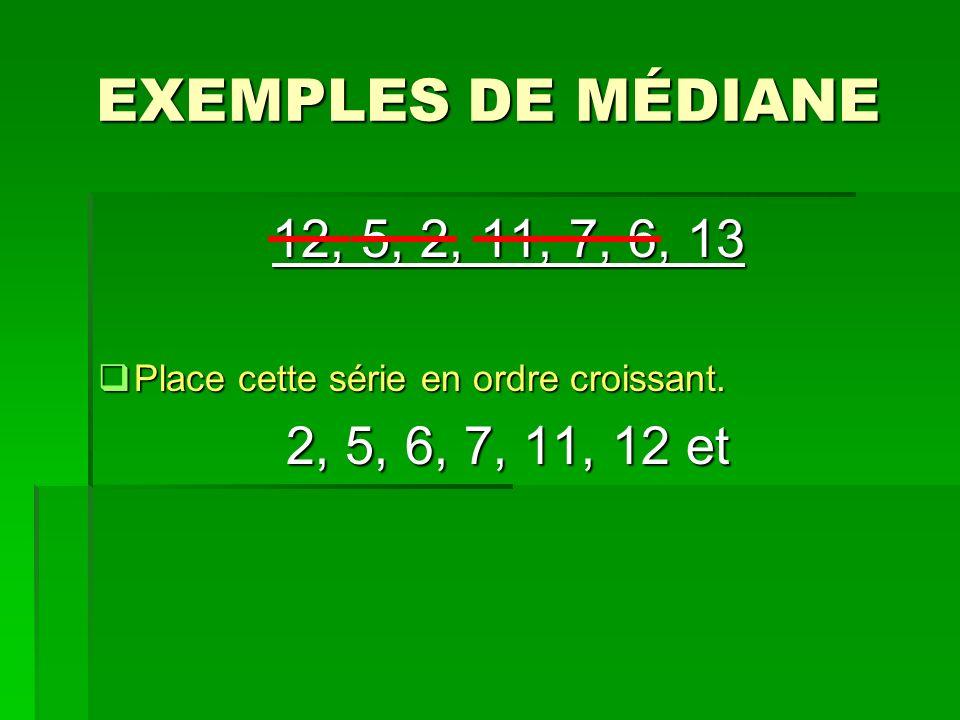 EXEMPLES DE MÉDIANE 12, 5, 2, 11, 7, 6, 13 Place cette série en ordre croissant. Place cette série en ordre croissant. 2, 5, 6, 7, 11, 12 et
