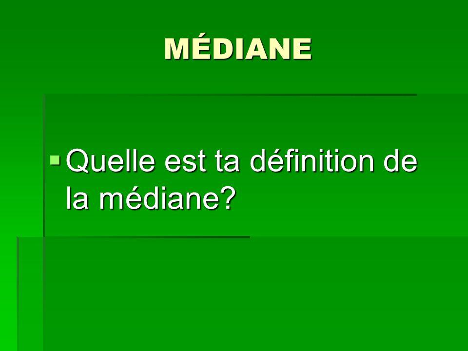 MÉDIANE Quelle est ta définition de la médiane? Quelle est ta définition de la médiane?