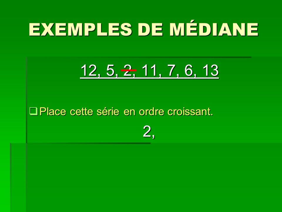 EXEMPLES DE MÉDIANE 12, 5, 2, 11, 7, 6, 13 Place cette série en ordre croissant. Place cette série en ordre croissant.2,