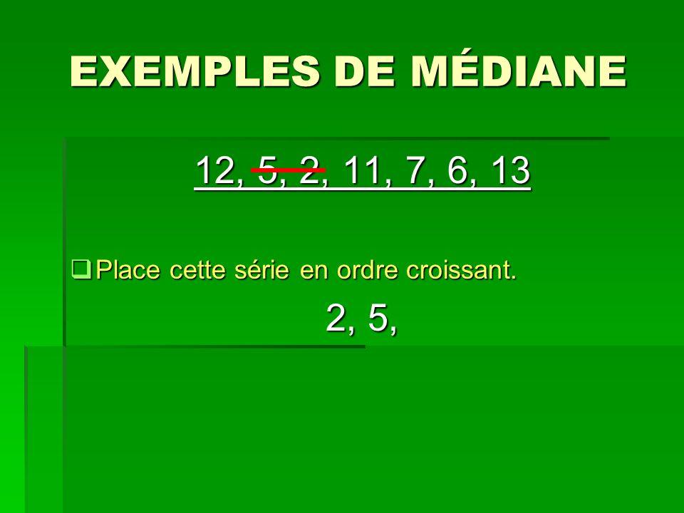 EXEMPLES DE MÉDIANE 12, 5, 2, 11, 7, 6, 13 Place cette série en ordre croissant. Place cette série en ordre croissant. 2, 5,