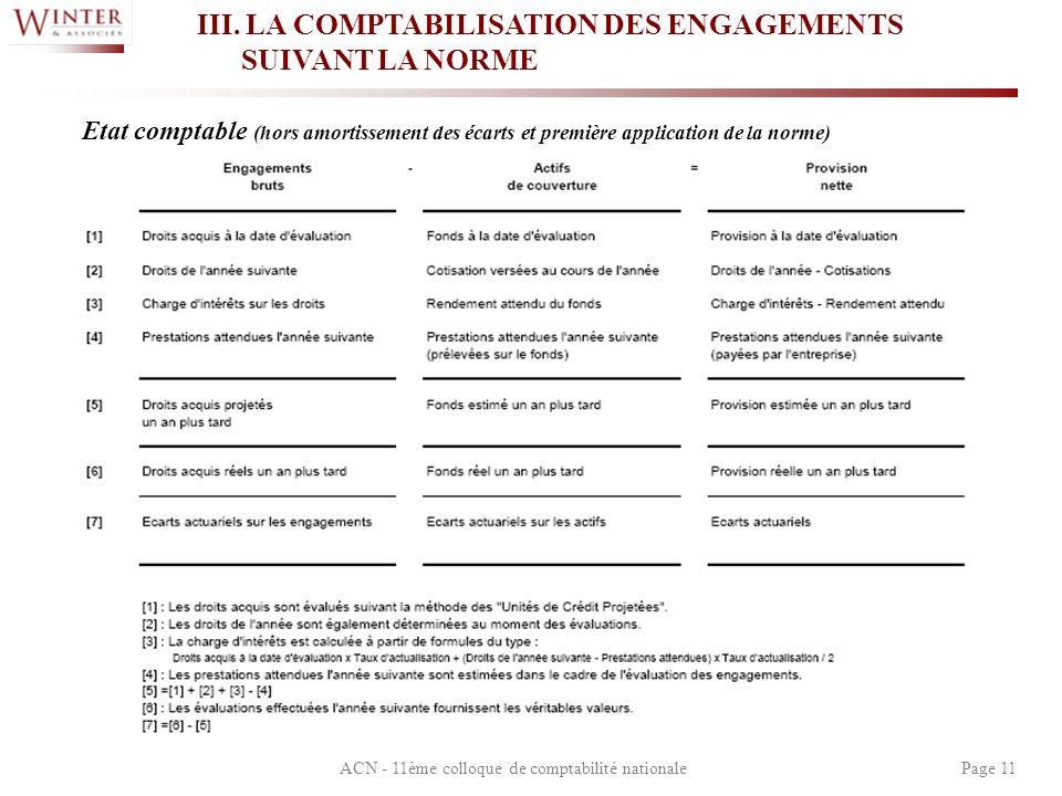 ACN - 11ème colloque de comptabilité nationalePage 11 III. LA COMPTABILISATION DES ENGAGEMENTS SUIVANT LA NORME Etat comptable (hors amortissement des