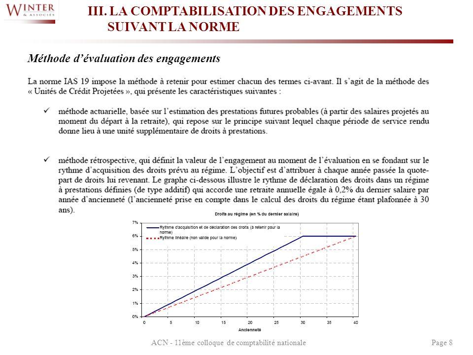 ACN - 11ème colloque de comptabilité nationalePage 8 III. LA COMPTABILISATION DES ENGAGEMENTS SUIVANT LA NORME Méthode dévaluation des engagements