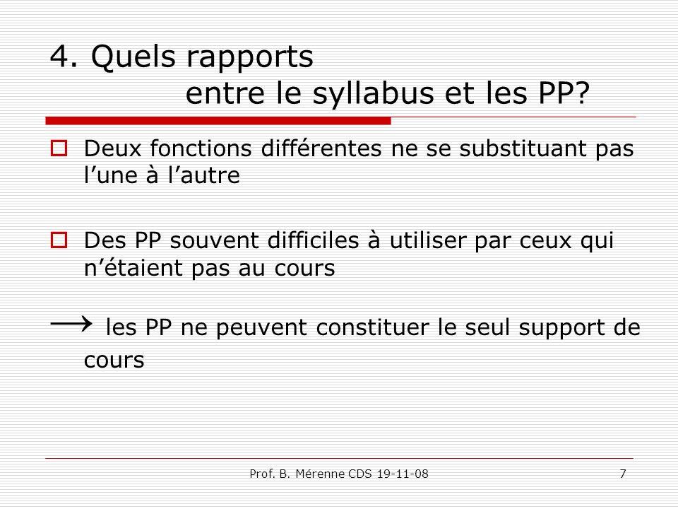 4. Quels rapports entre le syllabus et les PP.