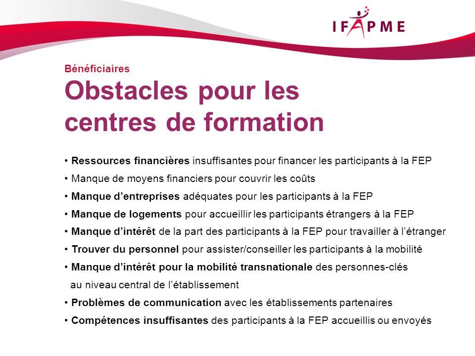 Bénéficiaires Ressources financières insuffisantes pour financer les participants à la FEP Manque de moyens financiers pour couvrir les coûts Manque d