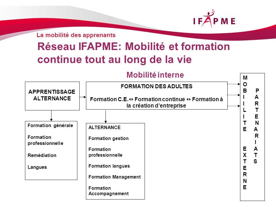 La mobilité des apprenants Réseau IFAPME: Mobilité et formation continue tout au long de la vie Mobilité interne APPRENTISSAGE ALTERNANCE FORMATION DE