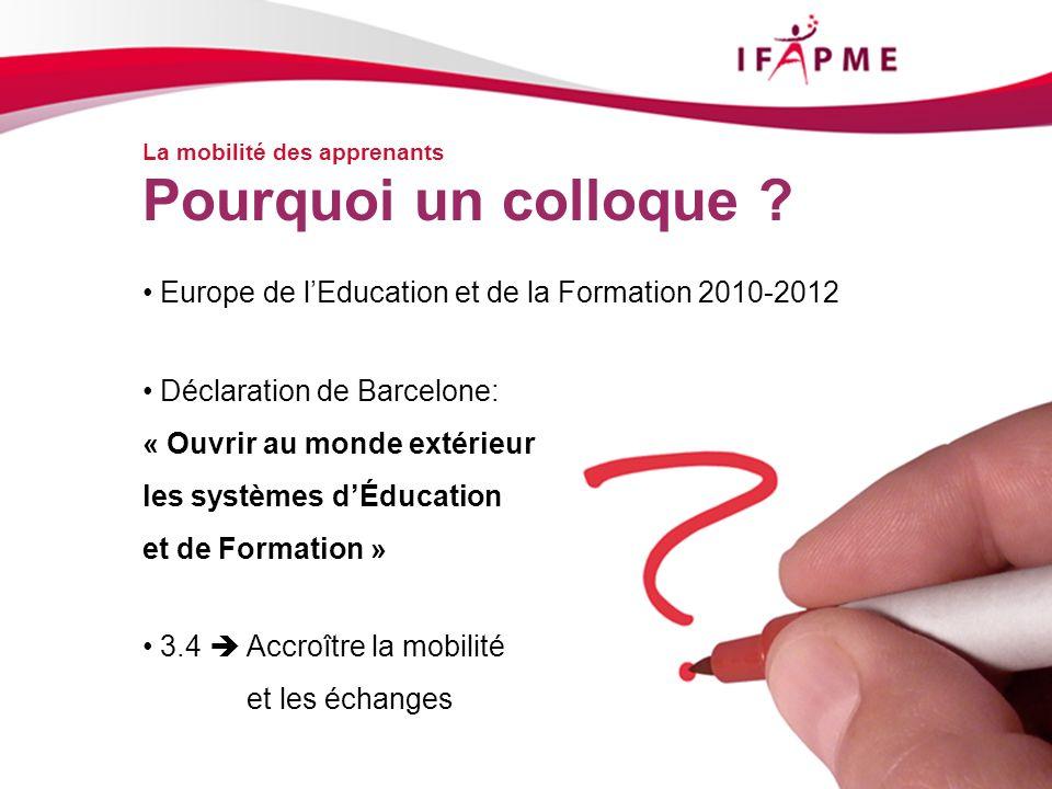 La mobilité des apprenants Europe de lEducation et de la Formation 2010-2012 Déclaration de Barcelone: « Ouvrir au monde extérieur les systèmes dÉducation et de Formation » 3.4 Accroître la mobilité et les échanges Pourquoi un colloque