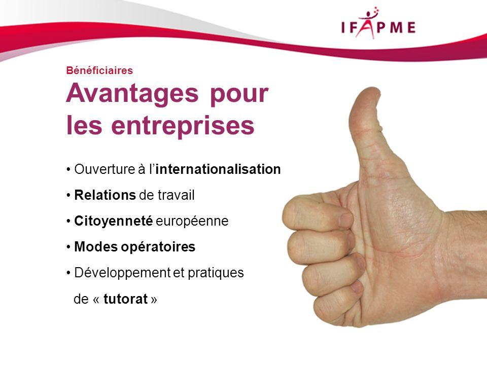 Bénéficiaires Ouverture à linternationalisation Relations de travail Citoyenneté européenne Modes opératoires Développement et pratiques de « tutorat » Avantages pour les entreprises