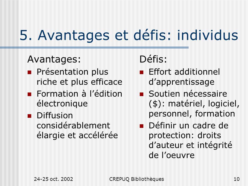 24-25 oct. 2002CREPUQ Bibliothèques10 5.