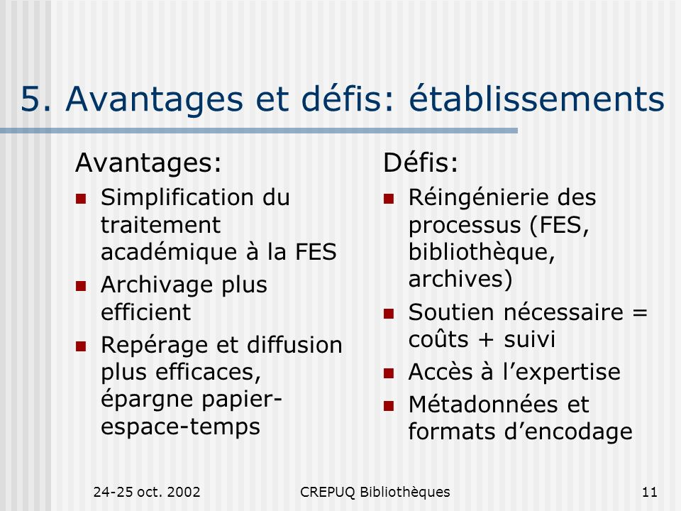 24-25 oct.2002CREPUQ Bibliothèques11 5.