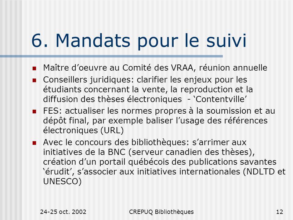 24-25 oct.2002CREPUQ Bibliothèques12 6.