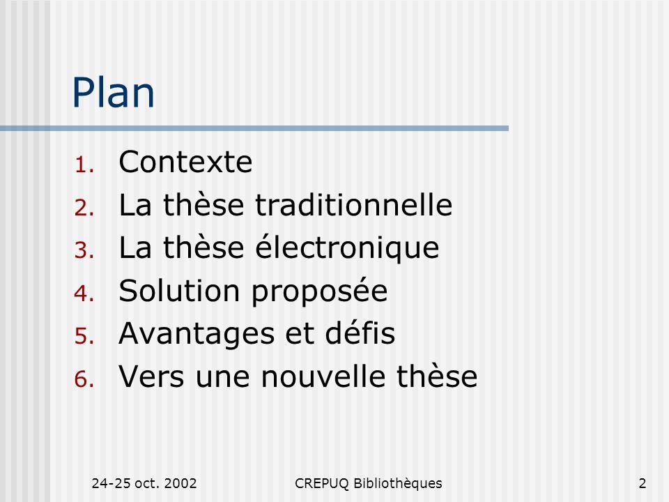 24-25 oct. 2002CREPUQ Bibliothèques2 Plan 1. Contexte 2.