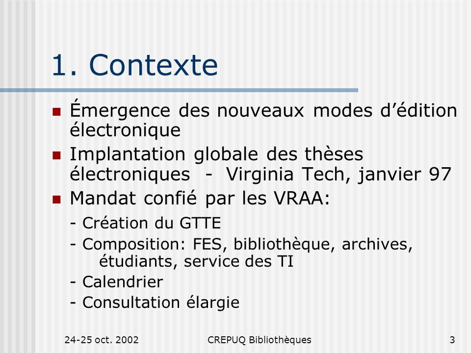 24-25 oct. 2002CREPUQ Bibliothèques3 1.