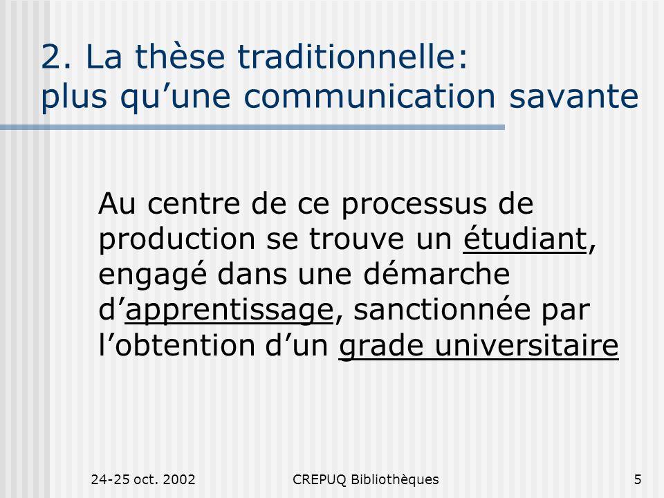 24-25 oct.2002CREPUQ Bibliothèques6 3.