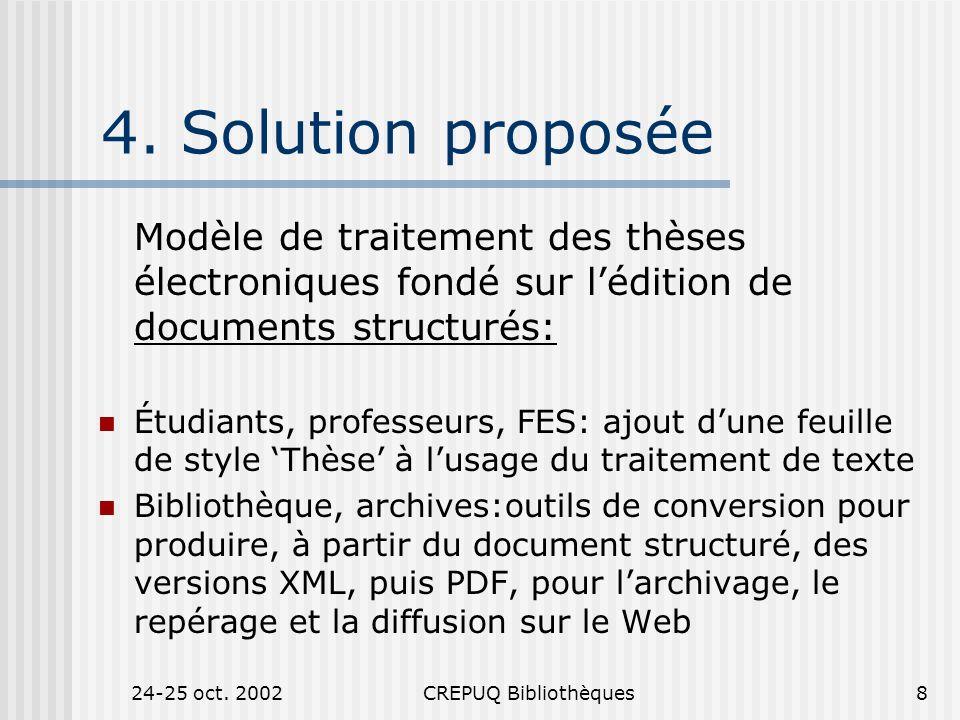 24-25 oct. 2002CREPUQ Bibliothèques8 4.