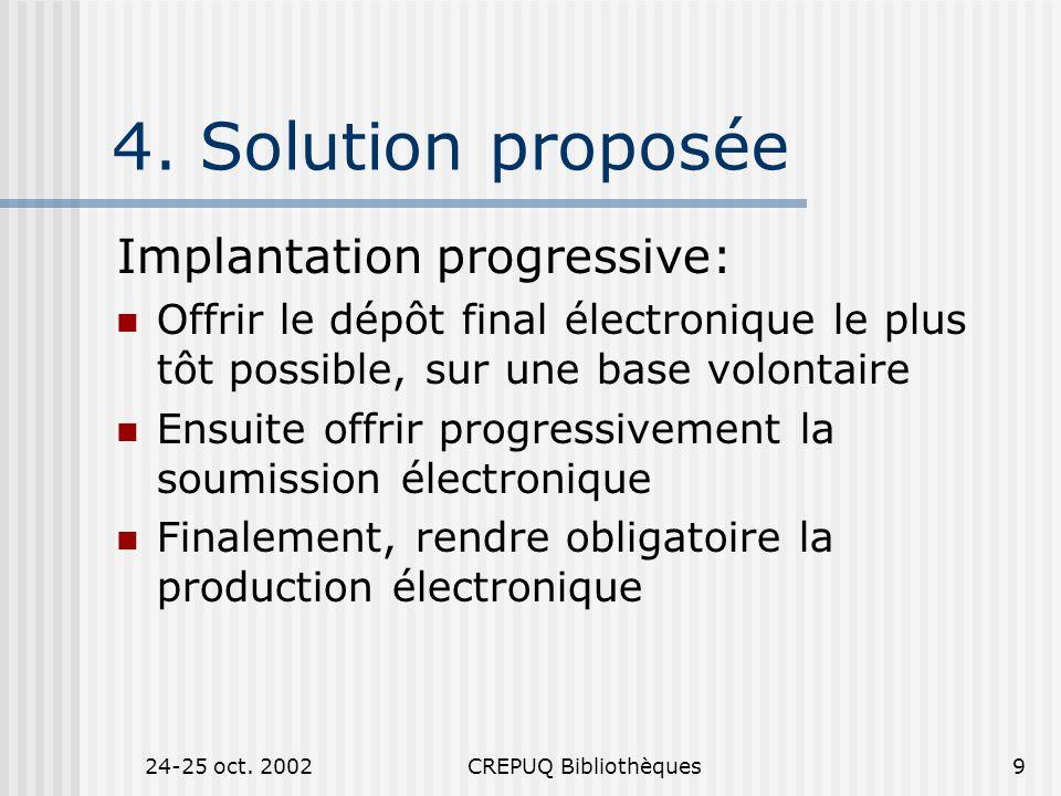 24-25 oct. 2002CREPUQ Bibliothèques9 4.