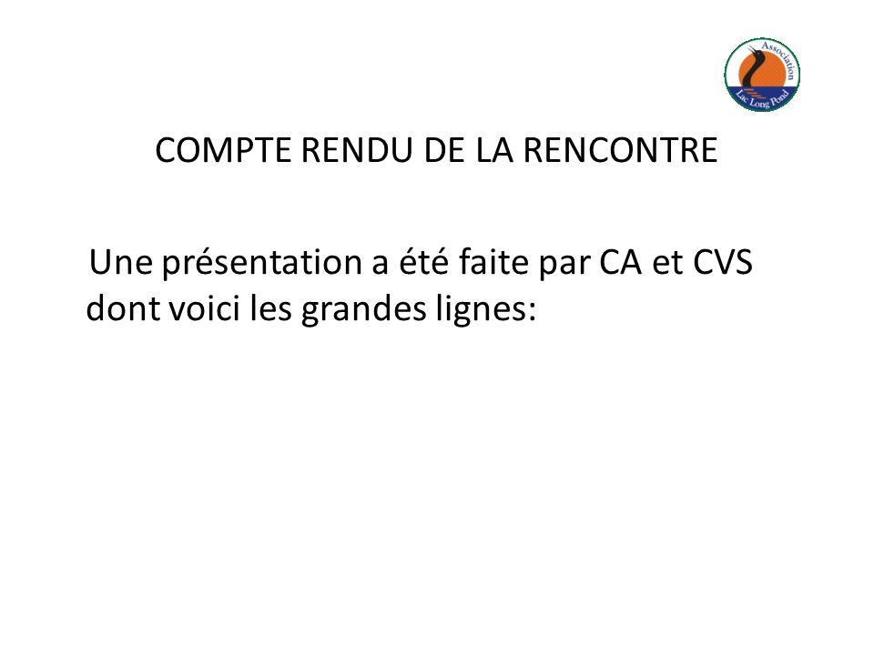 COMPTE RENDU DE LA RENCONTRE Une présentation a été faite par CA et CVS dont voici les grandes lignes: