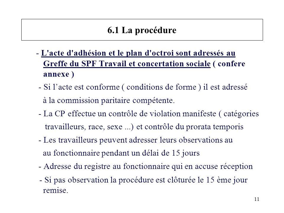 11 6.1 La procédure - L acte d adhésion et le plan d octroi sont adressés au Greffe du SPF Travail et concertation sociale ( confere annexe ) - Si lacte est conforme ( conditions de forme ) il est adressé à la commission paritaire compétente.