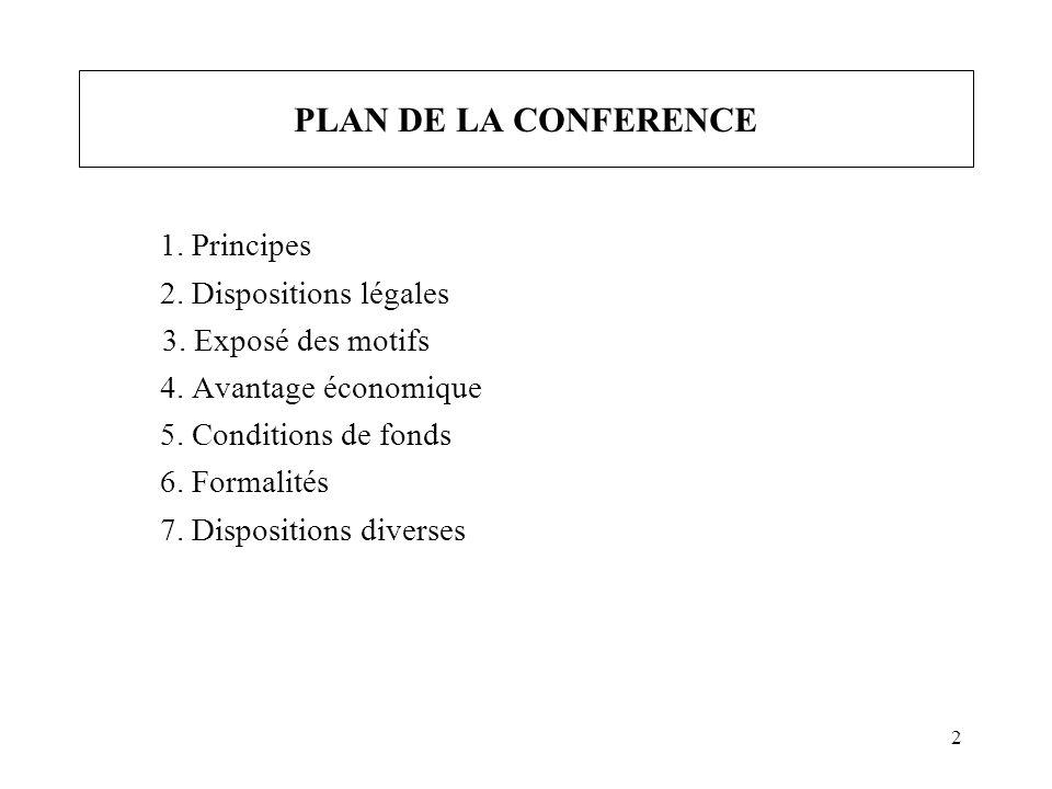 2 PLAN DE LA CONFERENCE 1. Principes 2. Dispositions légales 3.