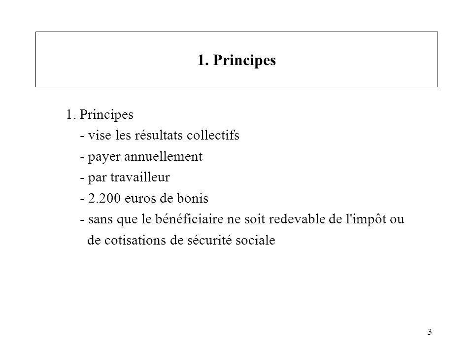 3 1. Principes - vise les résultats collectifs - payer annuellement - par travailleur - 2.200 euros de bonis - sans que le bénéficiaire ne soit redeva