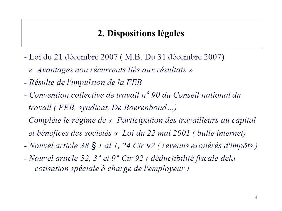 4 2. Dispositions légales - Loi du 21 décembre 2007 ( M.B.