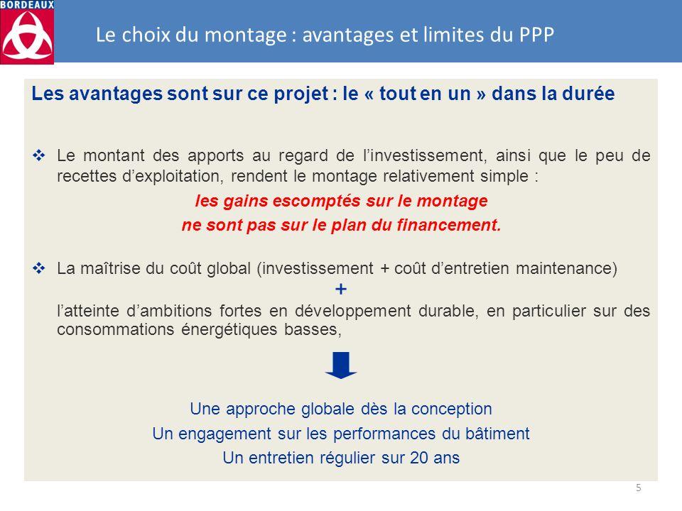 5 Les avantages sont sur ce projet : le « tout en un » dans la durée Le montant des apports au regard de linvestissement, ainsi que le peu de recettes