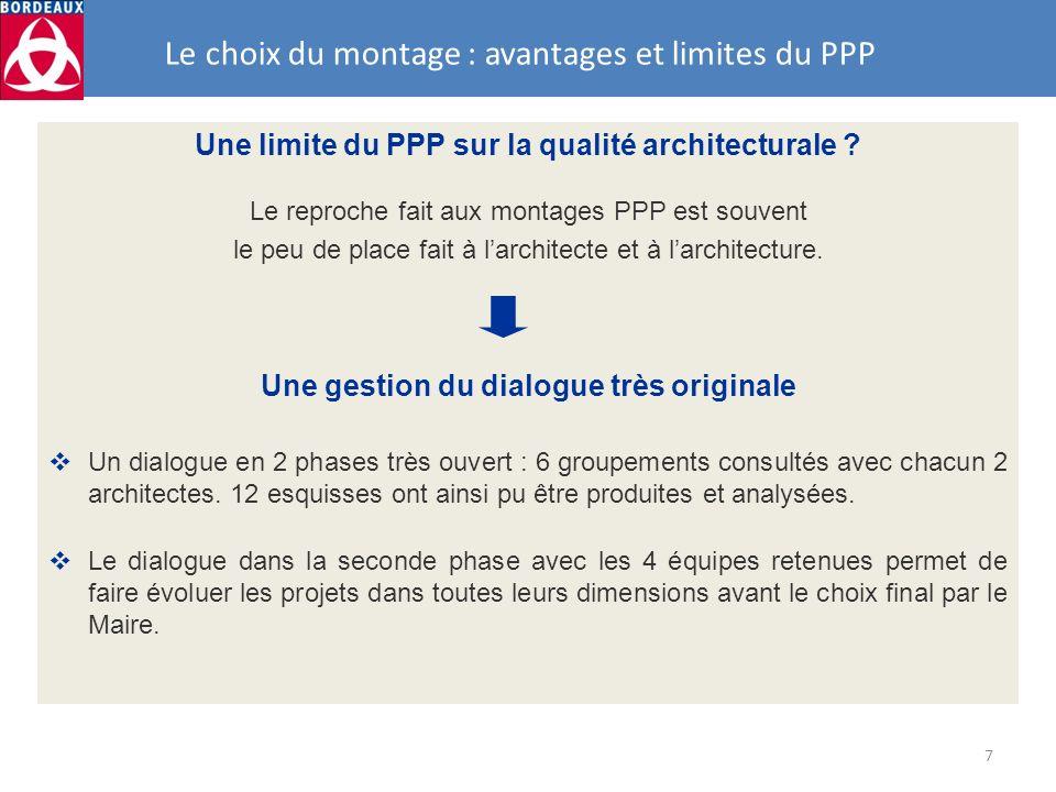 7 Le choix du montage : avantages et limites du PPP Une limite du PPP sur la qualité architecturale ? Le reproche fait aux montages PPP est souvent le