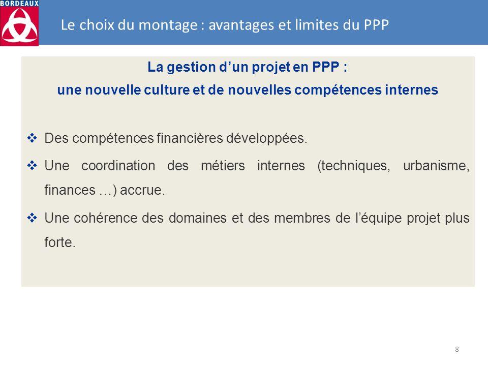 8 Le choix du montage : avantages et limites du PPP La gestion dun projet en PPP : une nouvelle culture et de nouvelles compétences internes Des compé