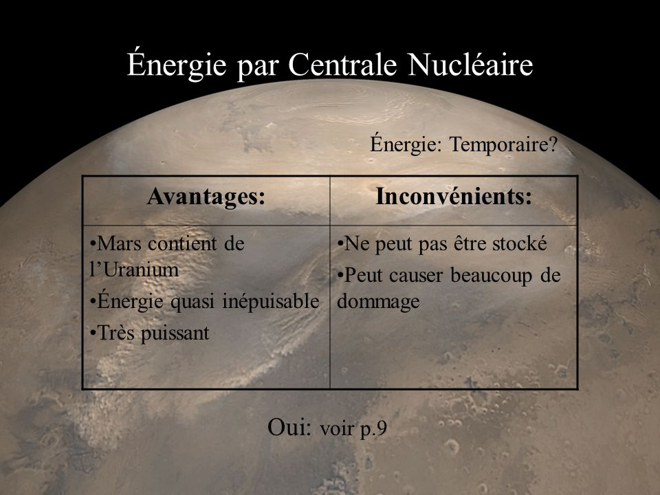 Énergie par Centrale Nucléaire Avantages:Inconvénients: Mars contient de lUranium Énergie quasi inépuisable Très puissant Ne peut pas être stocké Peut causer beaucoup de dommage Énergie: Temporaire.