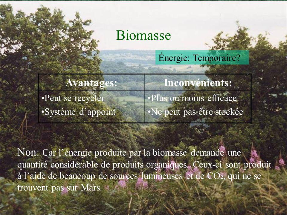 Biomasse Avantages:Inconvénients: Peut se recycler Système dappoint Plus ou moins efficace Ne peut pas être stockée Énergie: Temporaire.
