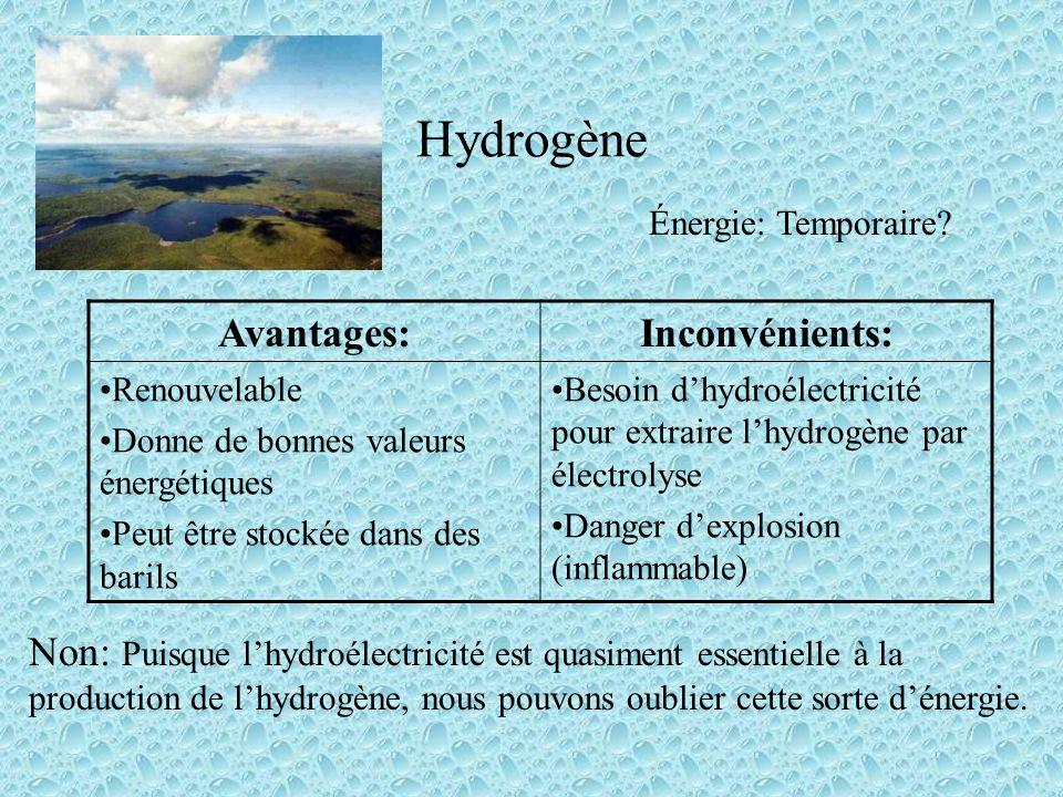 Hydrogène Avantages:Inconvénients: Renouvelable Donne de bonnes valeurs énergétiques Peut être stockée dans des barils Besoin dhydroélectricité pour extraire lhydrogène par électrolyse Danger dexplosion (inflammable) Énergie: Temporaire.