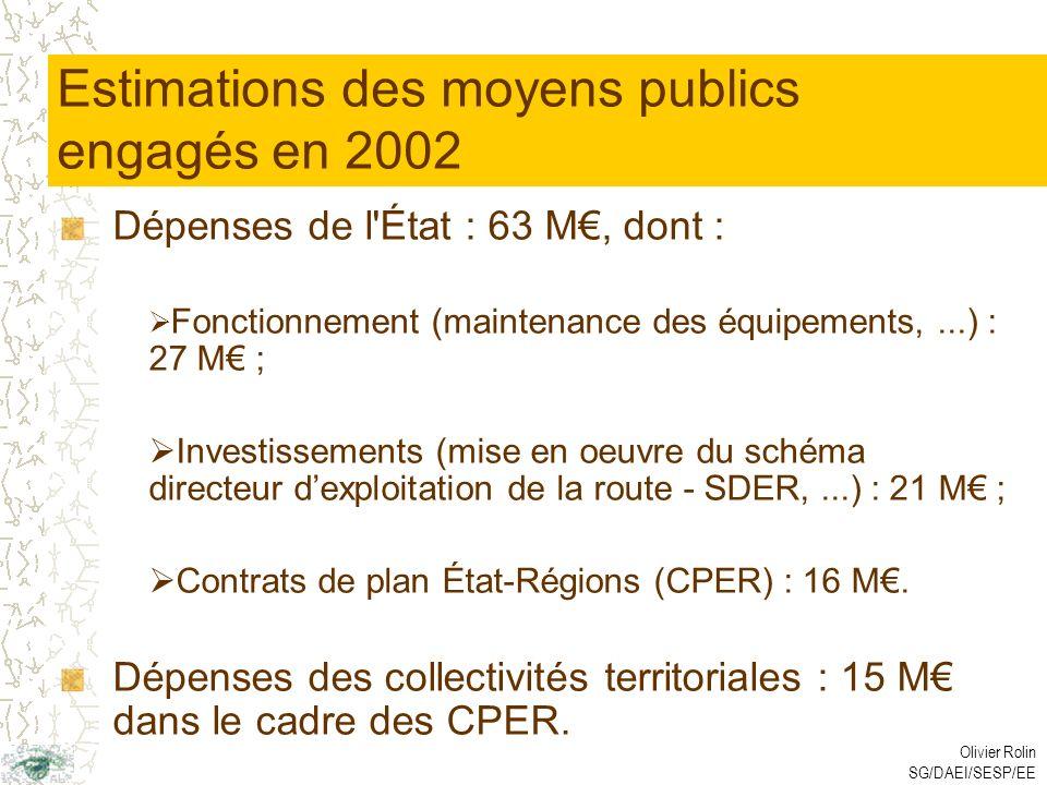 Olivier Rolin SG/DAEI/SESP/EE Estimations des moyens publics engagés en 2002 Dépenses de l État : 63 M, dont : Fonctionnement (maintenance des équipements,...) : 27 M ; Investissements (mise en oeuvre du schéma directeur dexploitation de la route - SDER,...) : 21 M ; Contrats de plan État-Régions (CPER) : 16 M.