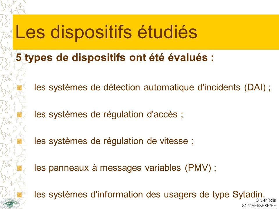 Olivier Rolin SG/DAEI/SESP/EE Les dispositifs étudiés 5 types de dispositifs ont été évalués : les systèmes de détection automatique d incidents (DAI) ; les systèmes de régulation d accès ; les systèmes de régulation de vitesse ; les panneaux à messages variables (PMV) ; les systèmes d information des usagers de type Sytadin.