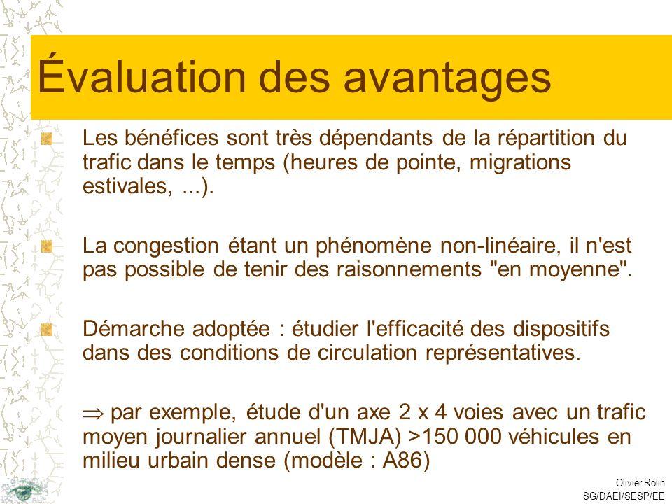 Olivier Rolin SG/DAEI/SESP/EE Évaluation des avantages Les bénéfices sont très dépendants de la répartition du trafic dans le temps (heures de pointe, migrations estivales,...).