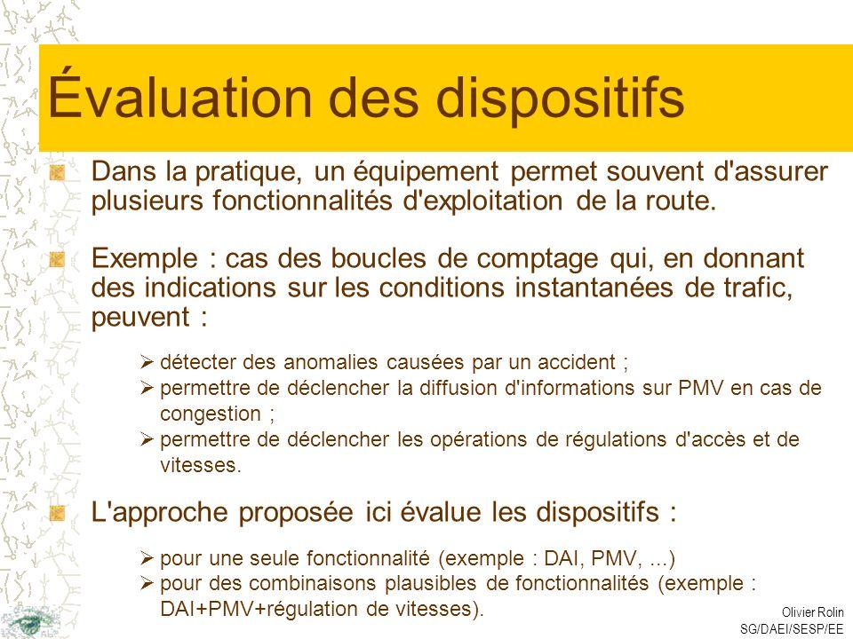 Olivier Rolin SG/DAEI/SESP/EE Évaluation des dispositifs Dans la pratique, un équipement permet souvent d assurer plusieurs fonctionnalités d exploitation de la route.