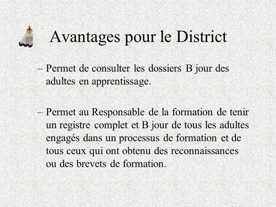 Avantages pour le District Notre application : –Permet de connaître ce que font les Adultes dans le scoutisme (leurs fonctions), la formation qu ils ont déj B acquise pour exécuter ces tâches.